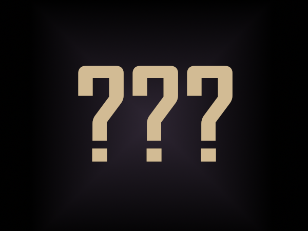 three large question marks on a dark background
